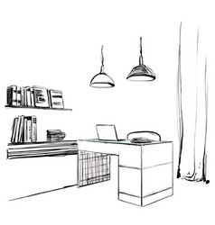 workspace office sketch furniture hand drawn vector image