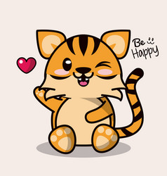 color background with cute kawaii animal tiger and vector image vector image