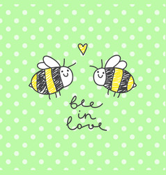 cute bees couple vector image