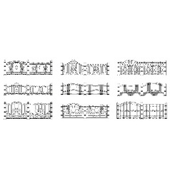 Forged gates and fences set vector image