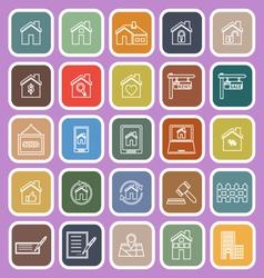Real estate line flat icons on violet background vector image
