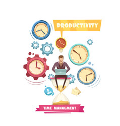time management retro cartoon concept vector image vector image