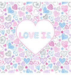 valentines card with colorful hearts vector image vector image