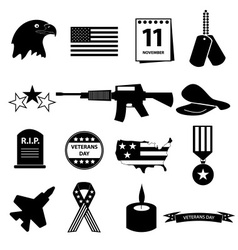 american veterans day celebration icons set eps10 vector image vector image