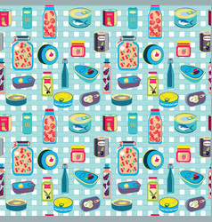 canned goods and food in metal glass container vector image