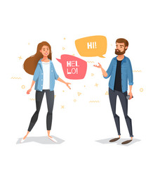 communicate a guy and a girl with bubbles vector image vector image