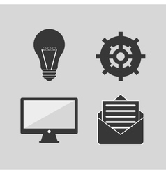 Computer with message envelope gear and lightbulb vector