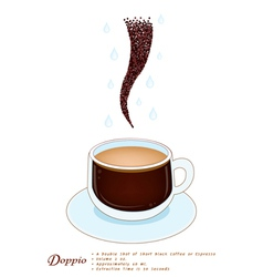 Doppio Coffee in A White Ceramic Cup vector image vector image