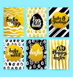 happy easter gold trendy brochures vector image