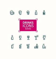 set of of icons of drinks vector image vector image