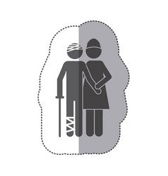 sticker monochrome pictogram nurse with bandaged vector image