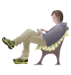 Young man sitting on the bench with mobile phone vector image