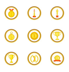 awards icons set cartoon style vector image vector image