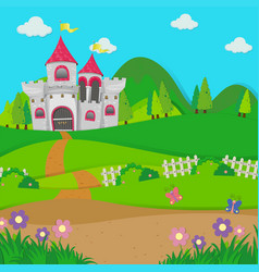 background scene with castle towers in the field vector image