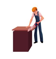 construction worker builder carpenter sawing vector image