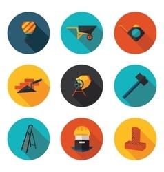 flat icons construction walls vector image vector image