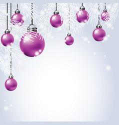 hanging colorful christmas ball with fir vector image