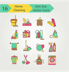 house cleaning color thin line icon set vector image