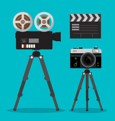movie and photo film cameras set on tripods vector image vector image
