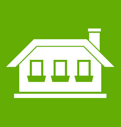 one-storey house with three windows icon green vector image