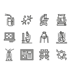 Chemistry symbols simple line icons set vector image