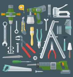 color flat style various house remodel instruments vector image vector image