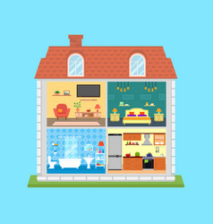 family home in cut vector image vector image