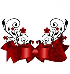 floral ribbon vector image vector image