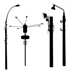 street lamp silhouettes vector image