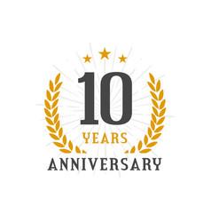 10 years anniversary golden laurel wreath logo vector
