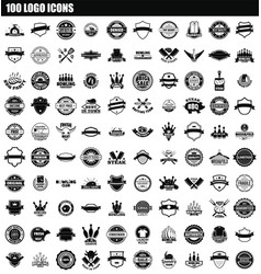 100 logo icon set simple style vector image