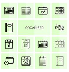 14 organizer icons vector