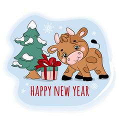 2021 bull found a gift new year cartoon vector