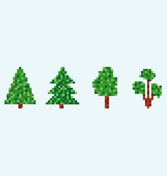 8 bit fir tree set pixel christmas tree isolated vector image