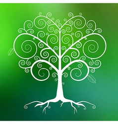 Abstract White Tree on Green Blurred Backgro vector