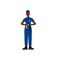 african american woman police officer character vector image