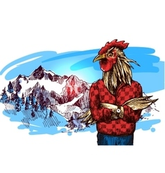 Animals in mountains vector