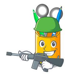 Army organizer desktop top view with cartoon vector