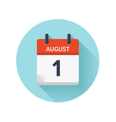August 1 flat daily calendar icon date vector