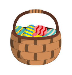 basket with easter eggs icon easter egg label on vector image
