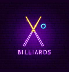 Billiards neon label vector