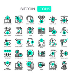 Bitcoin elements thin line and pixel perfect vector