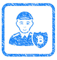 Bitcoin protector framed stamp vector