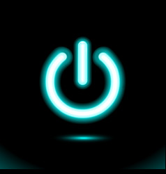 blue neon lamp sign button light on-off switch vector image