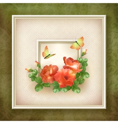 Border frame background flower butterfly design vector image vector image