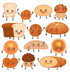 Bread characters funny bakery food faces icons vector