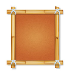 Brown bamboo frame with vintage paper vector