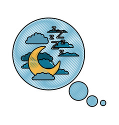 Bubble call out with night landscape and snoring vector