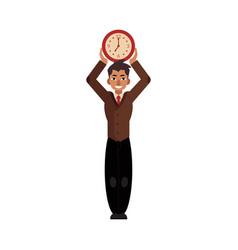 business man time clock deadline concept vector image