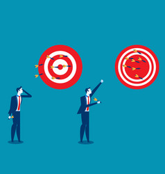 Businessman throwing darts at dart board concept vector
